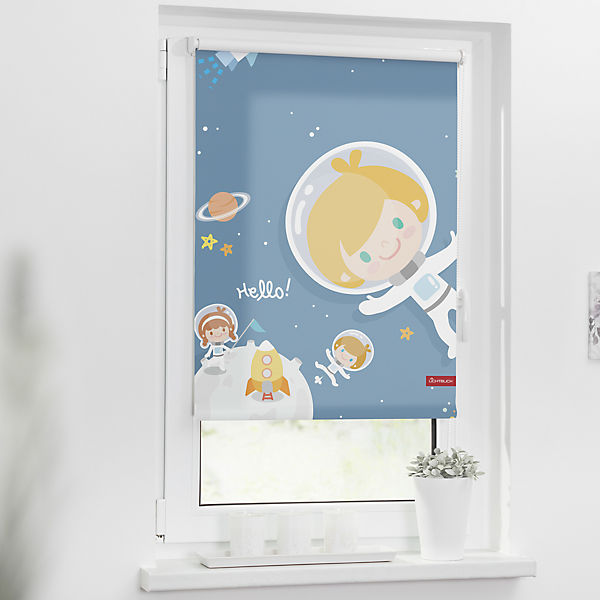 rollo klemmfix ohne bohren verdunkelung astronaut 90 x 150 cm lichtblick mytoys. Black Bedroom Furniture Sets. Home Design Ideas