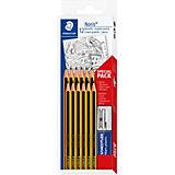 Набор чернографитовых карандашей Noris, НВ, 12 штук + ластик + точилка, Staedtler