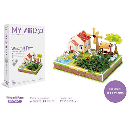 "3D пазл Zilipoo ""Ферма и ветрянная мельница"", 23 элемента от Zilipoo"