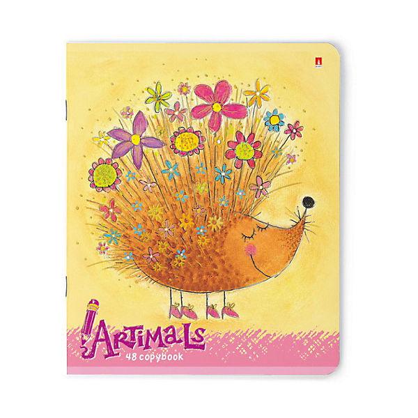 Тетрадь Праздник. Веселые зверята, 48 листов, клетка, 5 шт., рисунок в ассортименте