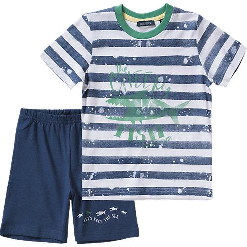 BLUE SEVEN Set T-Shirt + Sweatshorts Gr. 122 Jungen Kinder | 04055852008809