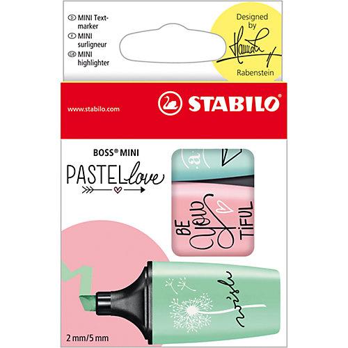 Набор текстовыделителей STABILO, BOSS MINI PASTELLOVE, 3 цв/уп (мята, роза, бирюза), блистер от STABILO