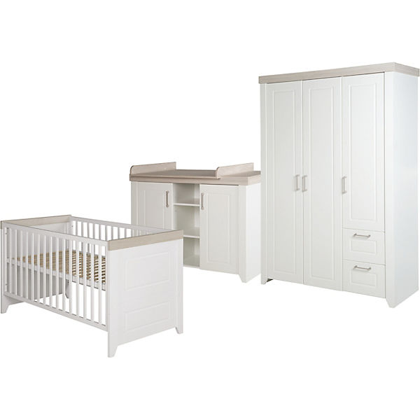 Komplett Kinderzimmer FELICIA, 3-tlg. (Bett, Wickelkommode, Kleiderschrank  3-trg,), weiß/Luna Elm, Roba