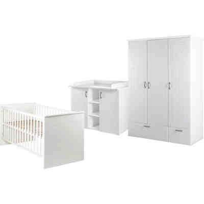 Komplett Kinderzimmer SARAH, 3-tlg. (Kinderbett, Wickelkommode und  3-türiger Kleiderschrank), North White, Roba