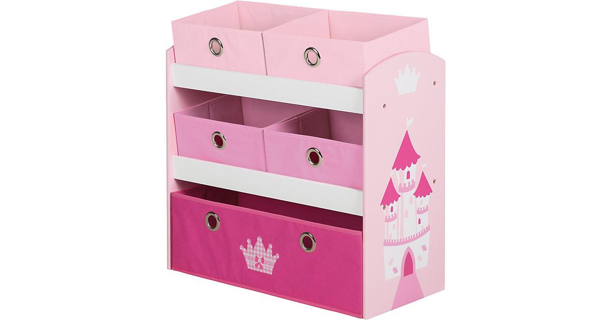 Image of 5 Boxen Regal, KRONE rosa/weiß