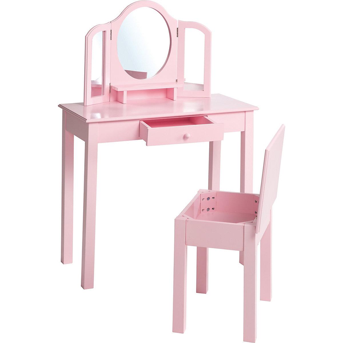 schminktisch mit hocker rosa lackiert roba mytoys. Black Bedroom Furniture Sets. Home Design Ideas