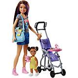 """Игровой набор с куклой Barbie """"Няня"""" Барби и Скиппер с коляской"""