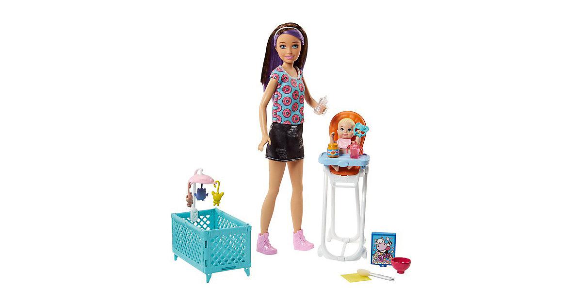 Barbie Skipper Babysitter Puppe (brünett), Spielset mit Baby-Puppe & Hochstuhl braun-kombi