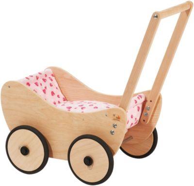 Holz-Puppenwagen  Mia  Weiß Puppenkinder inkl Laufwagen rosa Wäsche