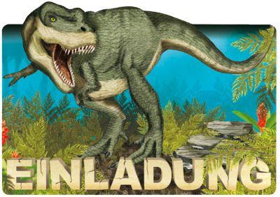 8 Einladungskarten T-Rex Dino Geburtstag Kinder Kindergeburtstag Einladungen