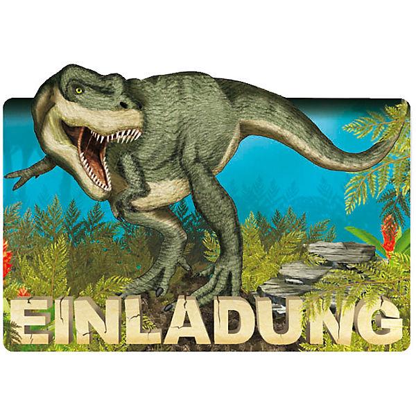 einladungskarten dinosaurier trex 8 stück inkl