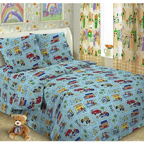Детское постельное белье 3 предмета Letto, простыня на резинке, BGR-32 - голубой от Letto
