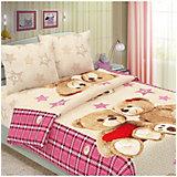 Детское постельное белье 1,5 сп Letto, Влюбленные мишки, розовый