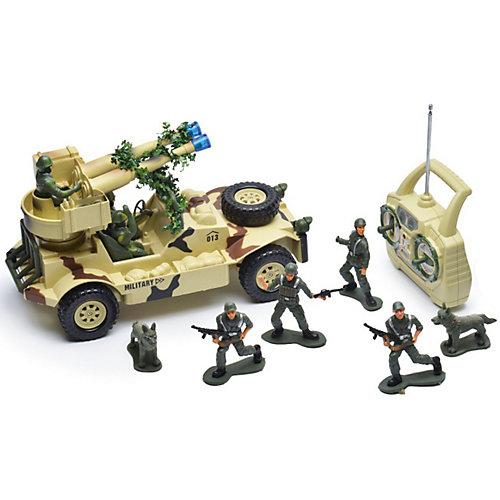 Радиоуправляемая машина Mioshi Army Военный джип с пулеметной установкой, 1:20, свет, звук от Mioshi