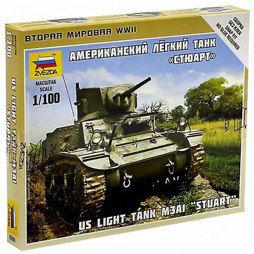 """Сборная модель  Американский лёгкий танк """"Стюарт"""" от Звезда"""