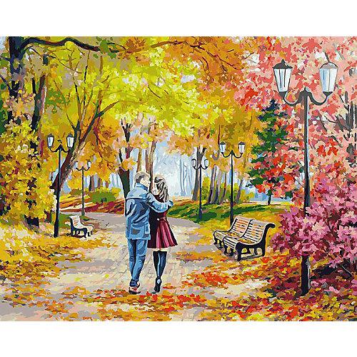 """Раскраска по номерам Белоснежка """"Осенний парк, скамейка, двое"""", 40х50 см от Белоснежка"""