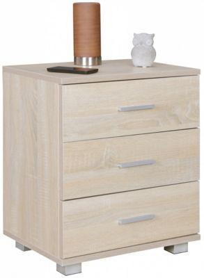 Nachtkonsole LATINA Holz Nachttisch modern mit 3 Schubladen weiss   Design Nachtkästchen 45 x 54 x 34 cm   Kleines Nachtschränkchen holzfarben