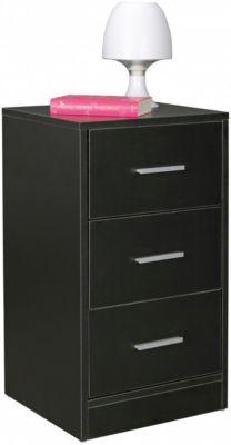 Nachtkonsole FOGGIA Holz Nachttisch mit 3 Schubladen Nachtkästchen 37,5x68x35cm hohes Nachtschränkchen schwarz
