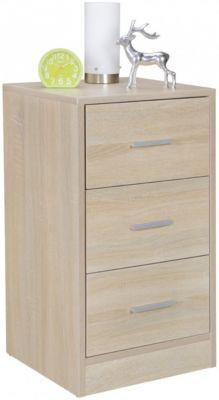 Nachtkonsole FOGGIA Holz Nachttisch mit 3 Schubladen Nachtkästchen 37,5x68x35cm hohes Nachtschränkchen holzfarben