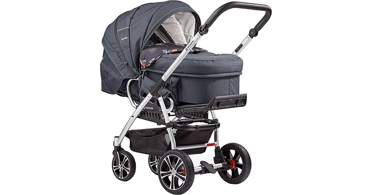 Gesslein · Kombi Kinderwagen F4 Air+ inkl. C2 Kompakt-Tragetasche, Gestell eloxiert, schwarz, dunkelblau meliert, 2018
