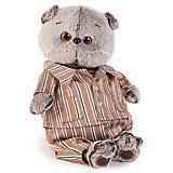 Мягкая игрушка Budi Basa Кот Басик в шелковой пижаме, 19 см