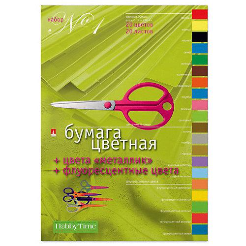 Набор цветной бумаги № 1 Альт А4, 20 листов (флуорисцентная) от Альт