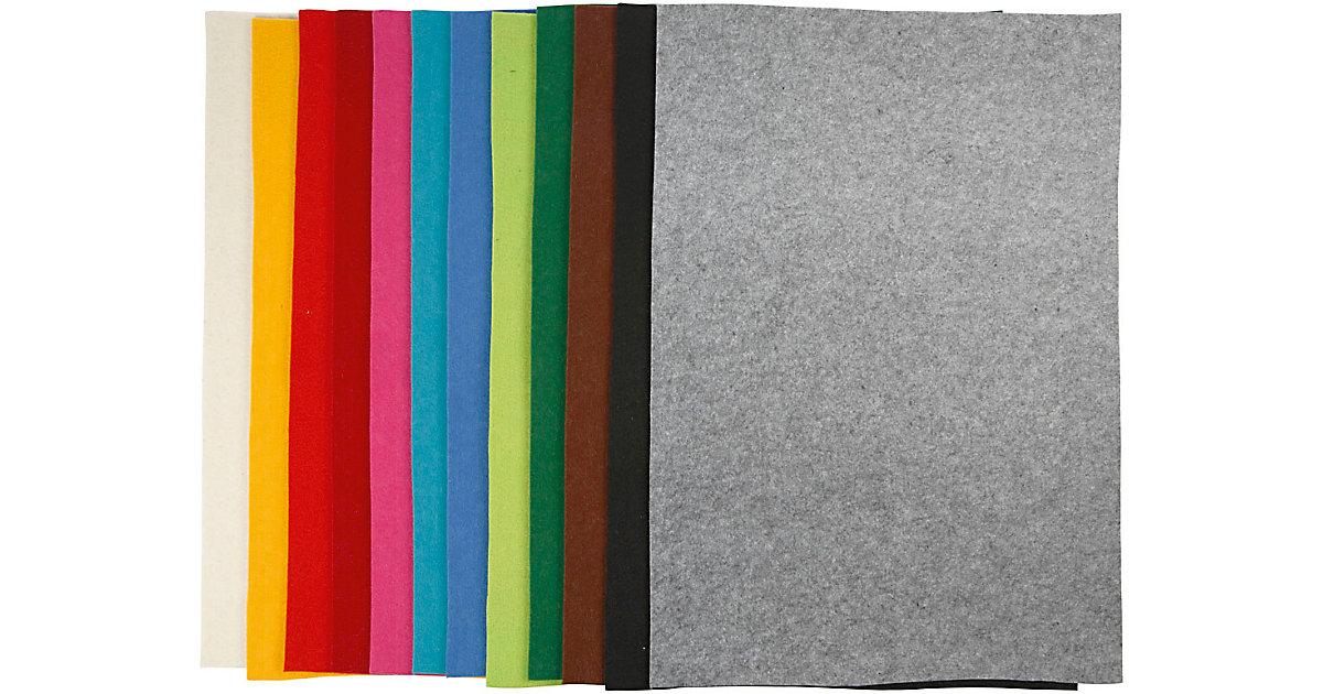 Bastelfilz, Blatt 42x60 cm, Stärke: 3 mm, Sortierte Farben, 12 Blatt sortiert
