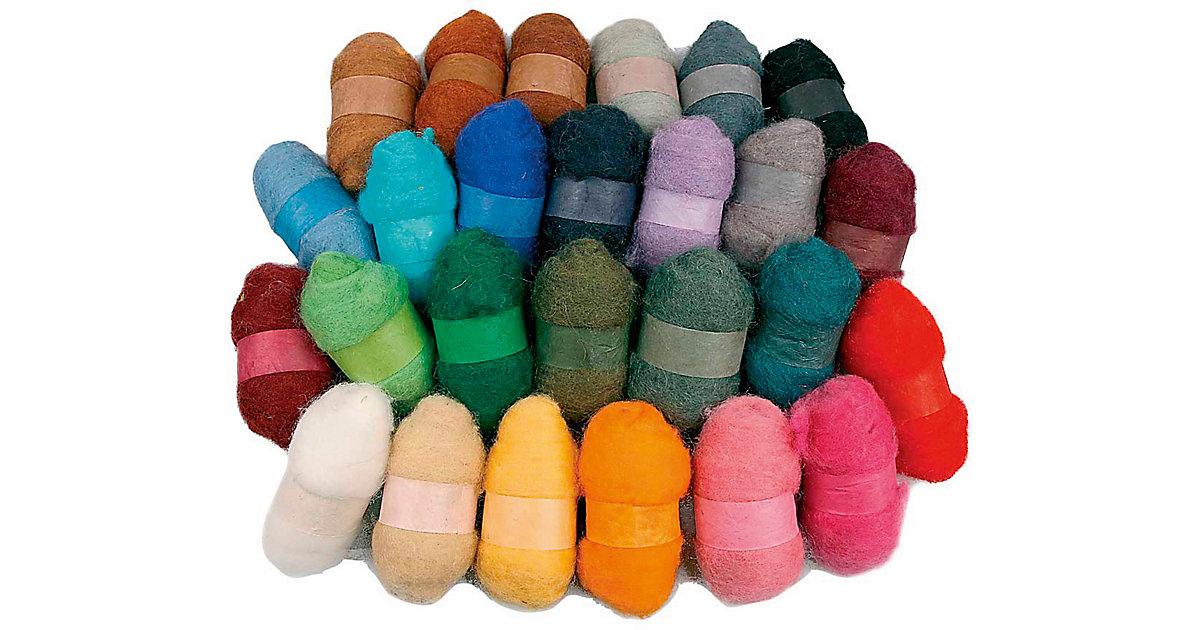 Wolle, kardiert, Sortierte Farben, 26x25g