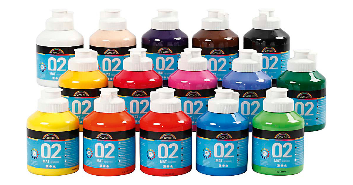 A-Color Acrylfarbe, 02 - Matt, 15x500ml