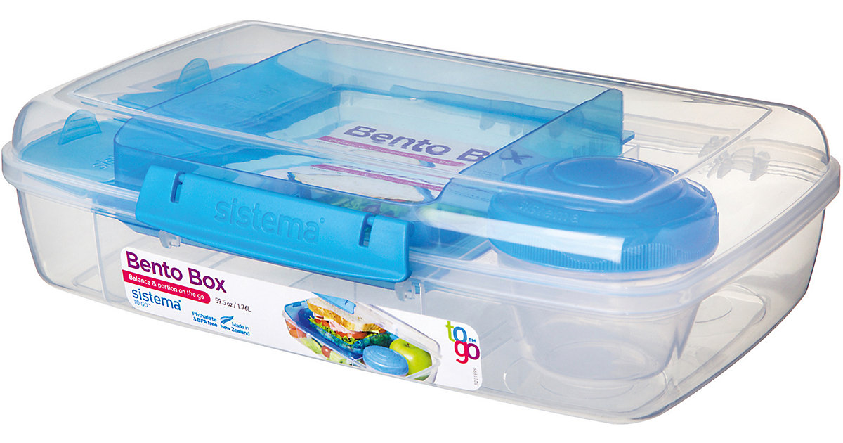 LUNCH Brotdose Bento Box, inkl. Joghurt-Dose, blau | Küche und Esszimmer > Aufbewahrung > Brotkasten | sistema