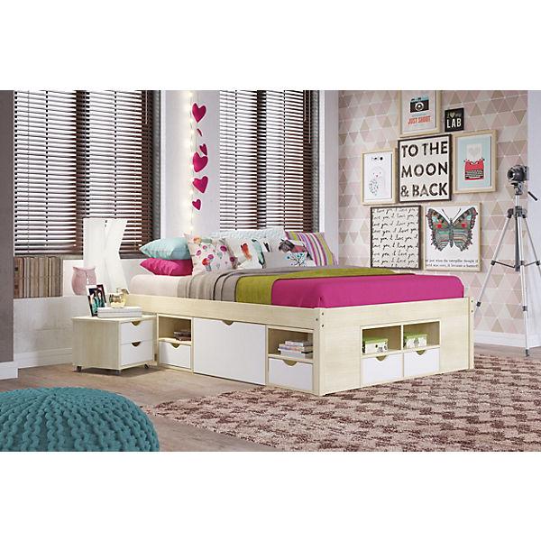funktionsbett mit schubladen gudjam kiefer massiv wei natur lackiert 140 x 200 cm mytoys. Black Bedroom Furniture Sets. Home Design Ideas