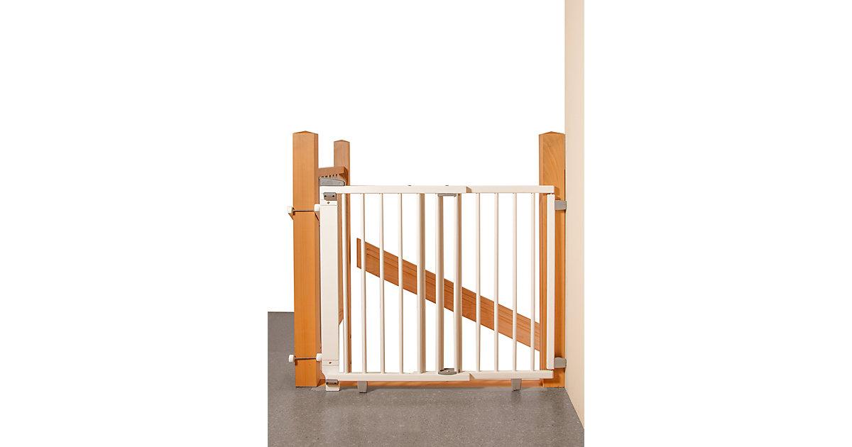 Geuther · Treppenschutzgitter schwenkbar, Buche massiv, weiß lackiert, 67 - 107 cm