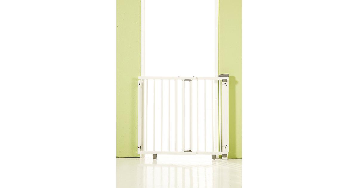 Geuther · Türschutzgitter schwenkbar, Buche massiv, weiß lackiert, 65 - 105 cm