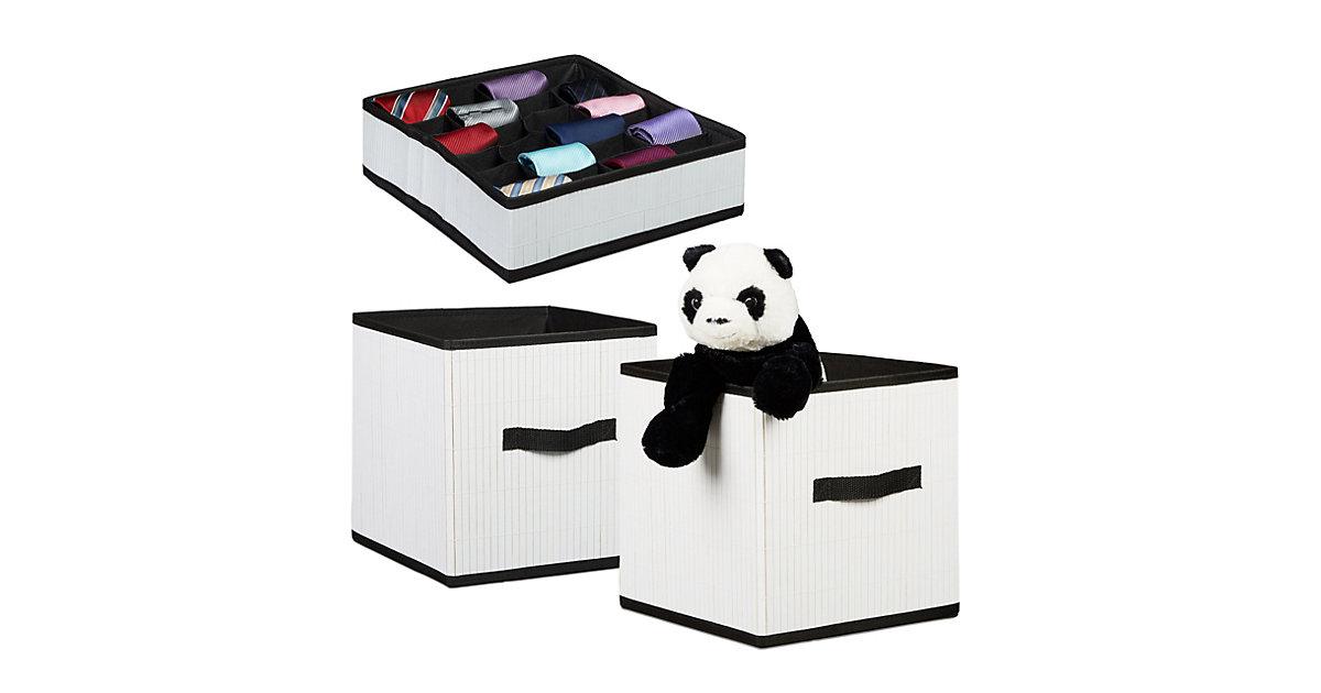 Image of 3er Aufbewahrungsset Krawattenbox Aufbewahrungsbox Faltbox aus Bambus Organizer weiß
