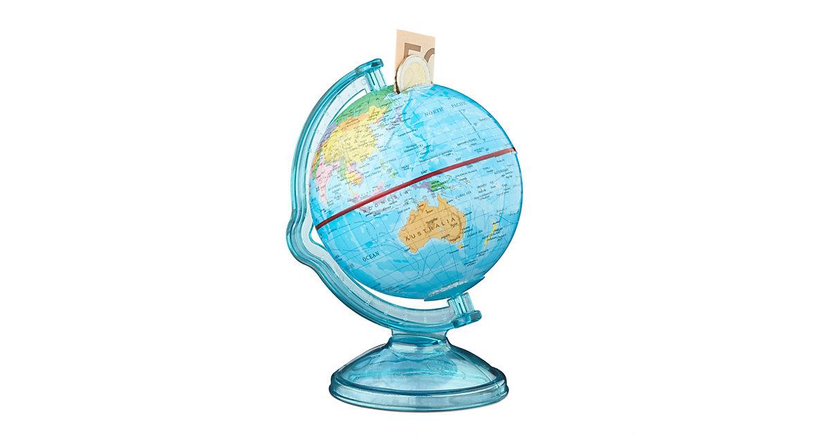 Spardose Globus drehbar blau