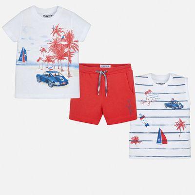 Комплект:2 футболки,шорты Mayoral для мальчика - бордовый
