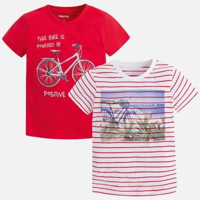 Комплект:2 футболки Mayoral для мальчика - бордовый