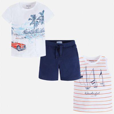 Комплект:майка,футболка,шорты Mayoral для мальчика - синий
