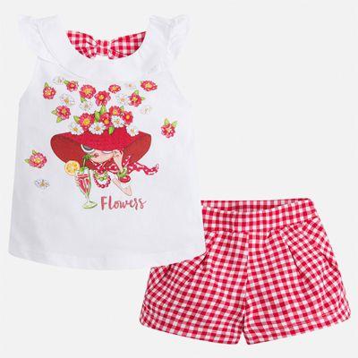 Комплект:шорты,футболка Mayoral для девочки - красный