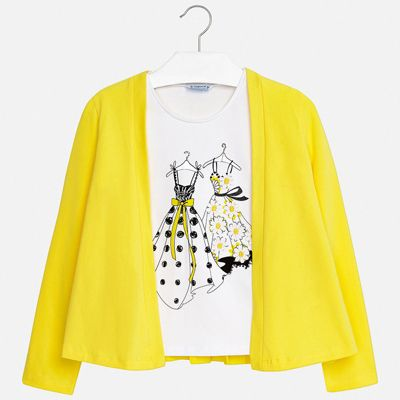 Комплект:блузка,кардиган Mayoral для девочки - желтый