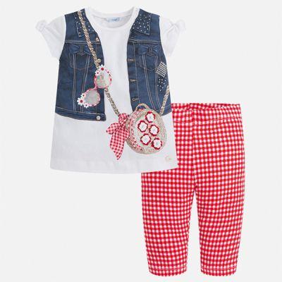 Комплект:брюки,пуловер Mayoral для девочки - красный