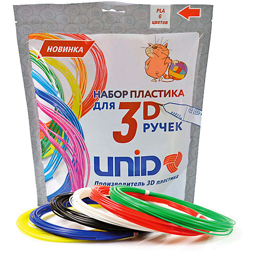 """Набор пластика для 3D ручек Unid """"PLA-6"""" 6 цветов, 10 м каждый от Unid"""