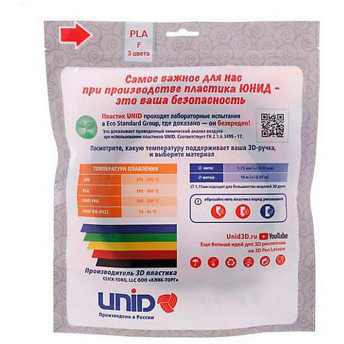Набор пластика для 3D ручек Unid PLA-F 3 цвета, 10 м каждый (светится в темноте) от Unid