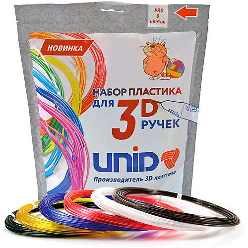 Набор пластика для 3D ручек Unid PRO-6 6 цветов, 10 м каждый от Unid