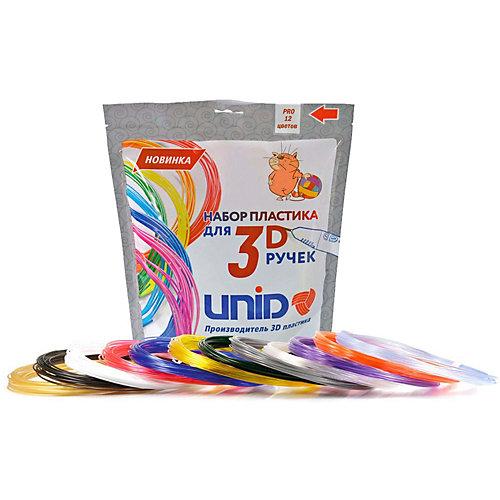 Набор пластика для 3D ручек Unid PRO-12 12 цветов, 10 м каждый от Unid