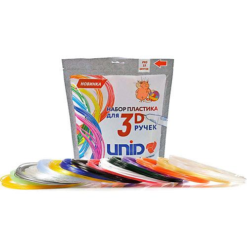 """Набор пластика для 3D ручек Unid """"PRO-15"""" 15 цветов, 10 м каждый от Unid"""