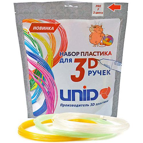 """Набор пластика для 3D ручек Unid """"PRO-F"""" 3 цвета, 10 м каждый (светится в темноте) от Unid"""