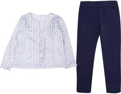 Комплект: футболка с длинным рукавом, леггинсы iDO для девочки - голубой
