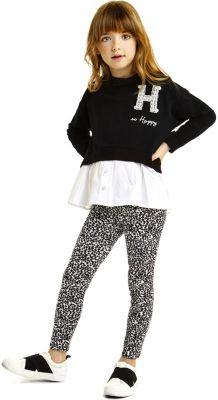 Комплект: футболка с длинным рукавом, леггинсы iDO для девочки - черный