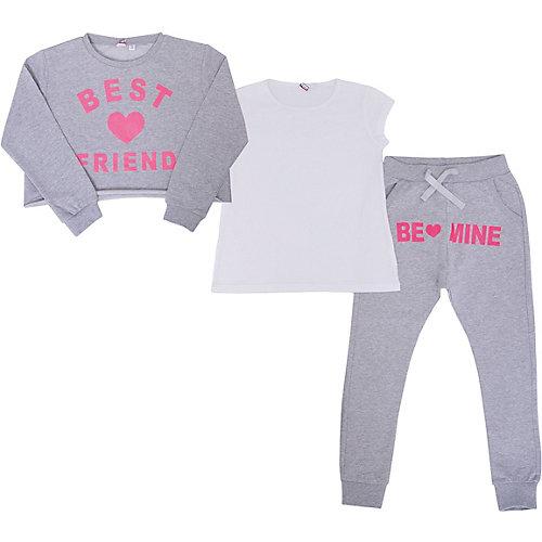 Комплект iDO: лонгслив, футболка и спортивные брюки - серый от iDO